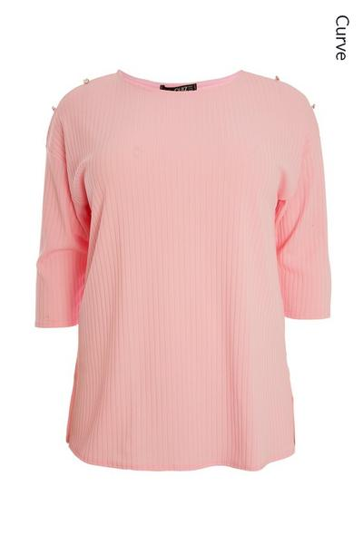 Curve Pink Ribbed Top